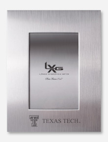 """Texas Tech Laser Engraved Double T on Brushed Metal 3"""" x 5"""" Frame"""
