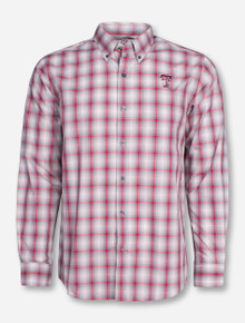 "Cutter & Buck Texas Tech ""North Point"" Grey and Red Plaid Long Sleeve Dress Shirt"