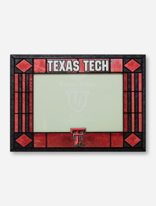 Texas Tech & Double T Art Glass Horizontal Red & Black Frame