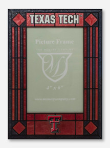 Texas Tech & Double T Art Glass Vertical Red & Black Frame