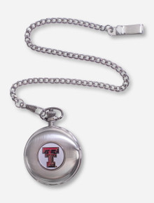 Texas Tech Double T Emblem On Silver Pocket Watch