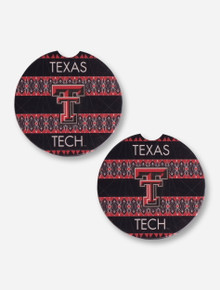 Set of 2 Texas Tech Double T Geometric Car Coasters