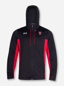 "Under Armour Texas Tech ""Warm Up"" Black and Red Full Zip Hooded Sweatshirt"