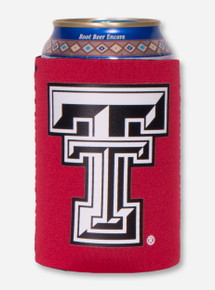 Texas Tech Black and White Double T on Red Koozie