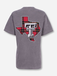 Texas Tech Plaid Lone Star Pride on Grey T-Shirt