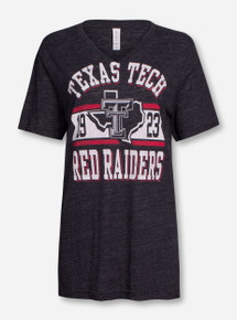 Texas Tech Metallic Banner on Heather Charcoal T-Shirt