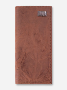 "Texas Tech ""Secretary"" Brown Leather Tall Wallet"