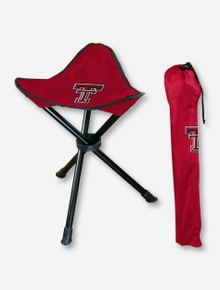 Logo Texas Tech Double T on Red Tripod Stool