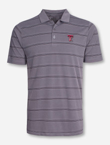"Antigua Texas Tech ""Adept"" Grey Striped Polo"