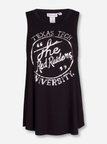 "Livy Lu Texas Tech ""Foil Circle"" Black Tank Top"