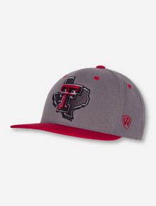 "Top of the World Texas Tech ""Intense"" Lone Star Pride Grey and Red Flatbill Stretch Fit Cap"