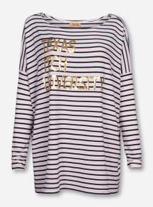 Livy Lu Texas Tech Foil Piko Black and White Striped Long Sleeve Shirt