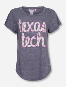 Livy Lu Texas Tech Flower Script on Heather Grey T-Shirt