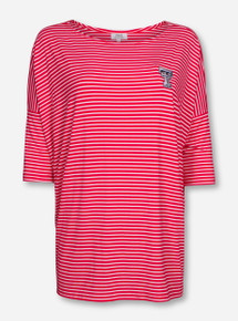Piko Texas Tech Double T Red Striped Scoop Neck Shirt