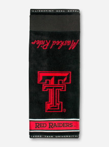 Team Effort Texas Tech Double T & Red Raiders on Black Golf Towel