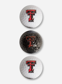 Team Golf Three Pack of Texas Tech Double T Black & White Golf Balls