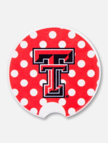 Texas Tech Double T Polka Dot Car Coaster