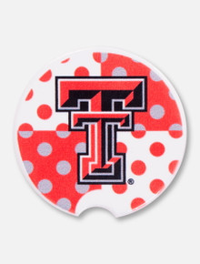 Texas Tech Double T with Quadrant Polka Dots Car Coaster