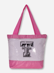 Texas Tech Double T Zippered Stadium Approved Game Day Pink Clear Bag