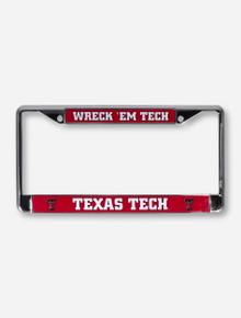 Texas Tech Wreck 'Em Tech Red and Chrome License Plate Frame