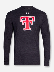 Under Armour Texas Tech Throwback Double T on Heather Charcoal Long Sleeve Shirt