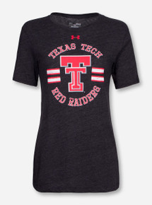 Under Armour Texas Tech Throwback Double T with Distressed Stripes Women's Charcoal T-Shirt