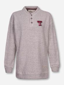 "Pressbox Texas Tech ""Comfy Henley"" Oatmeal Button Sweatshirt"
