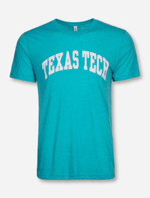 Texas Tech Arch in White on Sea Green Tri-Blend T-Shirt