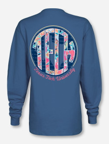 Texas Tech Garden Monogram on Denim Blue Long Sleeve Shirt