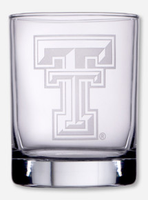 Texas Tech Double T Etched Rocks Glass