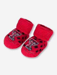 Texas Tech Polka Dot Knitted NEWBORN Booties
