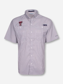 Columbia Texas Tech Super Tamiami Checkered Short Sleeve Shirt