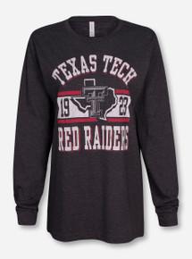 Texas Tech Metallic Banner on Heather Charcoal Long Sleeve Shirt