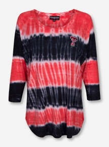 Texas Tech Double T on Red and Black Tie Dye Shirt