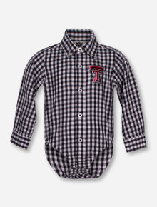 Wes & Willy Texas Tech Double T Gingham Onesie