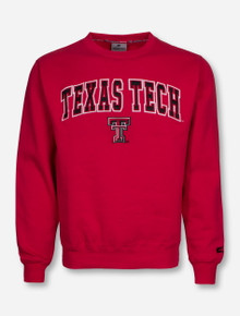 Arena Texas Tech with Double T on Red Crew Sweatshirt
