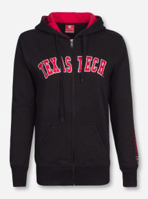 Arena Texas Tech Arch on Black Full Zip Women's Hooded Sweatshirt with Red Raiders Embroidered on Sleeve