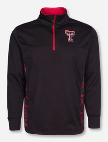 Arena Texas Tech Double T with Digital Camo Accents on Black Quarter Zip Pullover