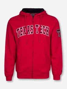 Arena Texas Tech Arch with Double T on Sleeve Full Zip Hooded Sweatshirt