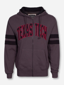 Arena Texas Tech Arch on Charcoal Full Zip Hooded Sweatshirt with Black Accents on Sleeves