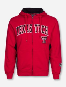 Arena Texas Tech with Double T on Red and Black Full Zip Hooded Sweatshirt