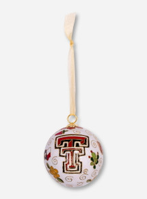 Kitty Keller Texas Tech Double T Cowboy Icons on White Ball Ornament