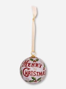 Kitty Keller Texas Tech Double T Merry Christmas on White Ball Ornament
