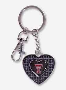 Texas Tech Double T Grid Heart Key Chain