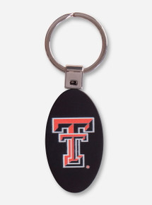 Texas Tech Double T Black Satin Finish Metal Key Chain