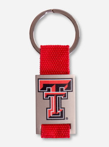 Texas Tech Double T on Red Woven Tag Key Chain