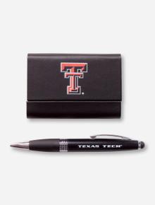 Texas Tech Double T Leatherette Business Card Holder & Pen/Stylus Set