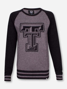 47 Brand Texas Tech Double T on Charcoal and Black Raglan Style Sweater