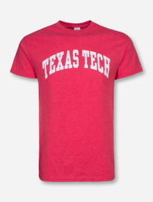Texas Tech Arch in White on Heather Red T-Shirt
