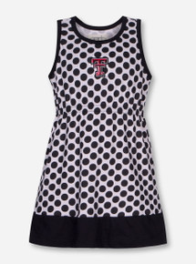"Garb Texas Tech ""Tessa"" TODDLER Black & White Polka Dot Dress"